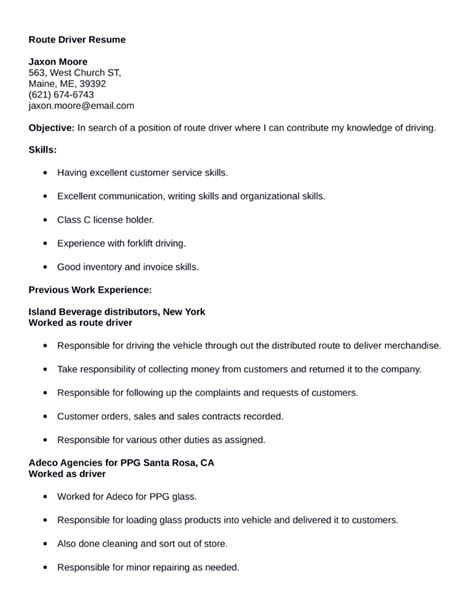 easy route driver resume template