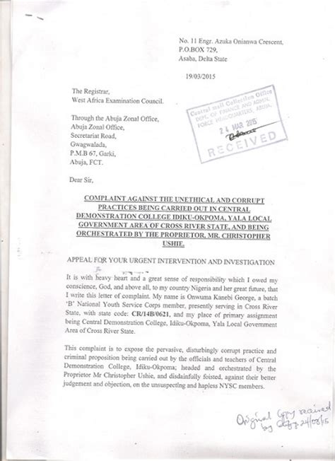 Acceptance Letter For Nysc Nysc Corps Members Sacked For Resisting Corruption Must Read Open Letter 360nobs