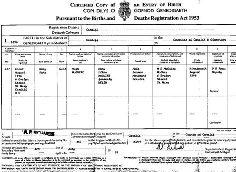 Cardiff Wales Birth Records Children