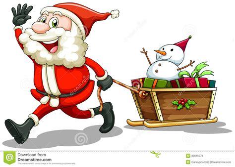 smiling santa pulling  sleigh stock vector image
