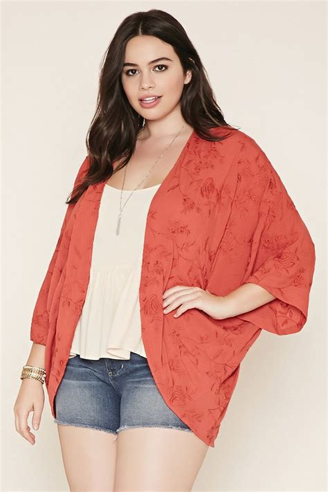 plus size tattoo models forever 21 a woven kimono featuring allover floral