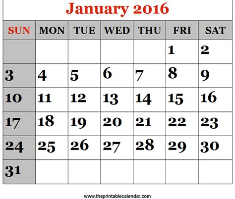 printable january 2016 day planner january 2016 printable calendars