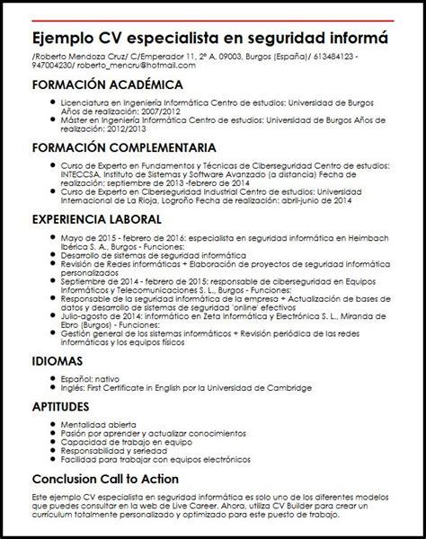 Modelo Curriculum Vitae Informatica Ejemplo Cv Especialista En Seguridad Informatica Micvideal