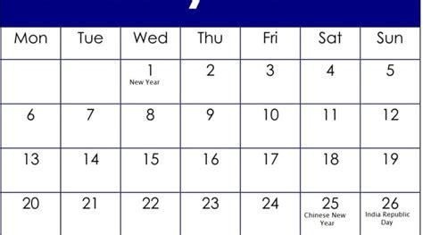 january  calendar  american holidays   latest printable calendar template