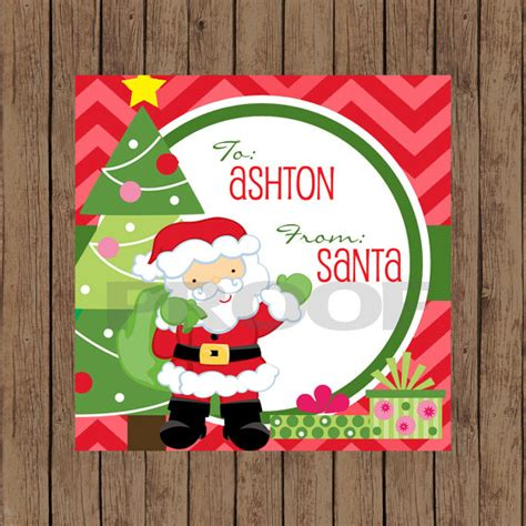 printable santa gift tags personalized personalized santa claus favor gift tag printable
