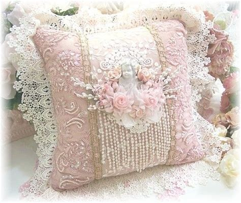 Pink Lace Fan Cover Shabby Vintage Home Decor Flower cushion basteln shabby pillows and linen fabric
