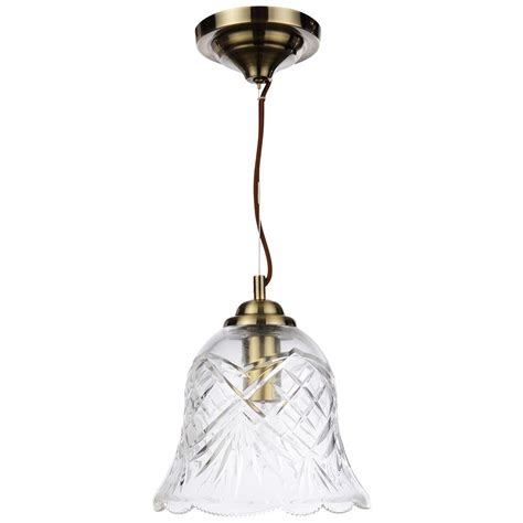 Glass Ceiling Lights Uk 1 Light Cut Glass Ceiling Pendant Antique Brass From Litecraft