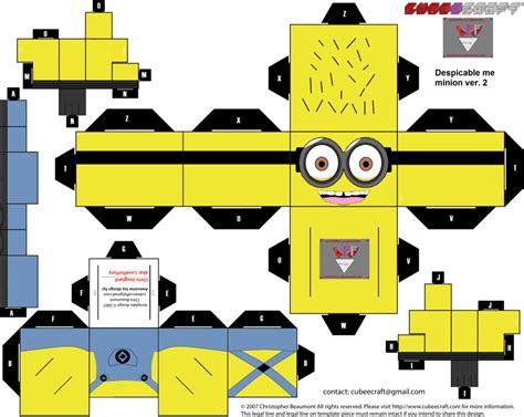 Paper Cube Craft - minion cube template version 2 minion inspiration