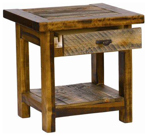 rustic wood accent table rustic wood end table w drawer contoured aspen