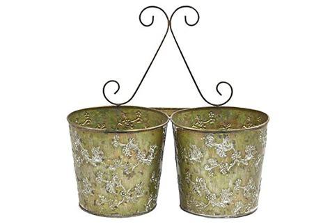 tin wall planter green