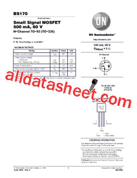 transistor bs170 datasheet bs170 datasheet pdf on semiconductor