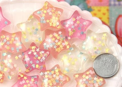 Bedroom Kandi Products 24mm dreamy pastel confetti star chunky resin flatback