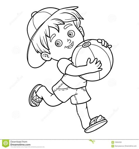 Coloring Book For Children Little Boy With The Ball Stock Vector Illustration Of Walking Boy Coloring Book