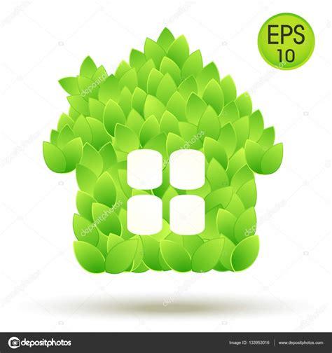 imagenes de vectores ligados logotipo de la casa ecol 243 gica casa de vectores de hojas