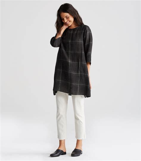 Set Tunic 3 In 1 Linen App Rumbe2 Cantik Quality Realpict lyst eileen fisher organic linen multi plaid a line tunic in black