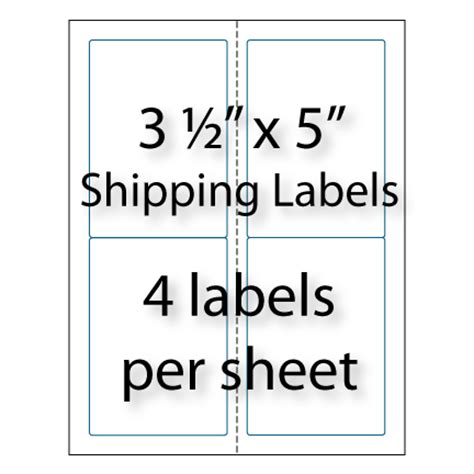 Shipping Labels 3 1 2 Quot X 5 Quot 4 Up Avery 174 5168 Compatible Avery 1 X 2 Label Template
