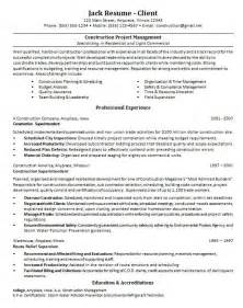 Construction Management Resume Sles by Resume Sle Project Management Resume Sles Free Project Manager Resume Sle Entry Level
