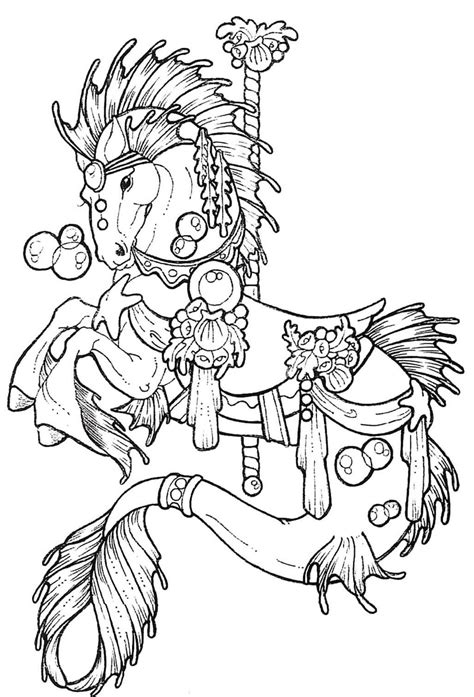 free carousel horses coloring pages