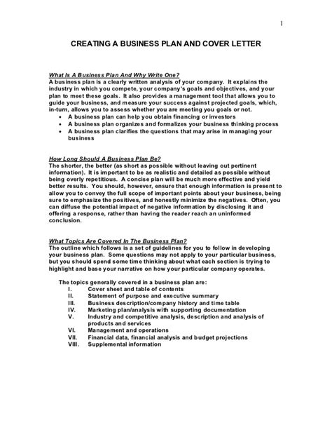 sle business plan and cover letter