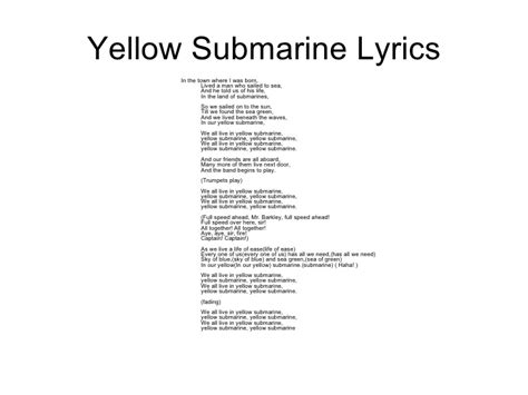 yellow testo yellow submarine song lyrics