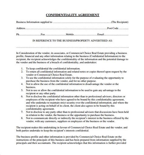 10 Real Estate Confidentiality Agreements Sle Templates Free Confidentiality Agreement Template