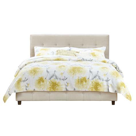 linen upholstered bed greenhome123 beige linen upholstered platform bed frame