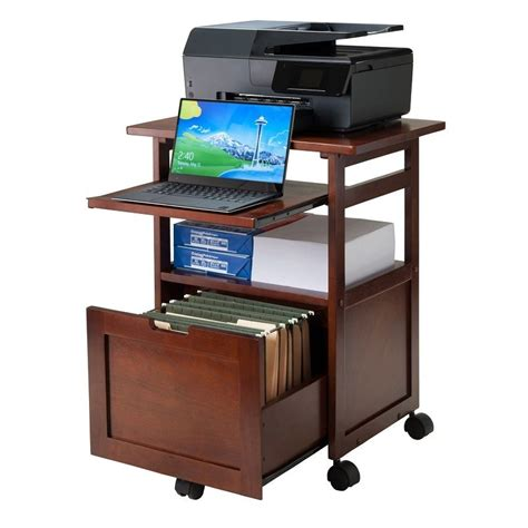 Laptop Printer Desk Office Wood Rolling Cart Computer Printer Stand File Drawer Shelf Wheels Wannut Ebay