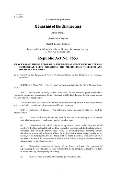 Letter Of Agreement Philippines Republic Act No 9653 Rent Act 2009