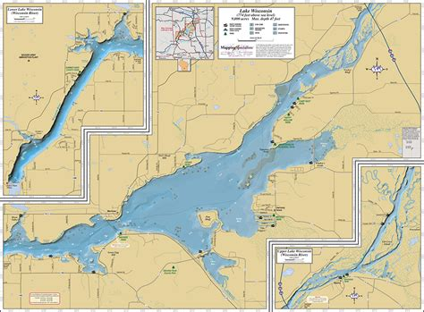 map of lakes lake wisconsin wall map