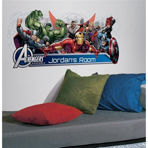 personalised marvel wall decal stickers kids avengers name avengers assemble personalized wall mural 108 decals iron