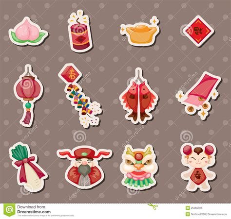 Desk Design Plans by Chinese New Year Stickers Royalty Free Stock Photo Image