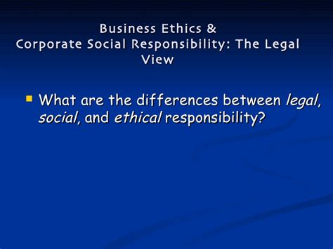 Mba In Corporate Social Responsibility by Business Ethics Corporate Social Responsibility Overview