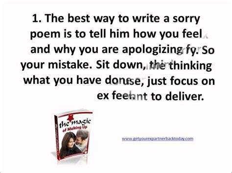 Tips to get an ex boyfriend back how to write sorry poems for a
