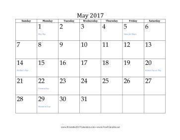 printable calendar grid 2017 printable may 2017 calendar