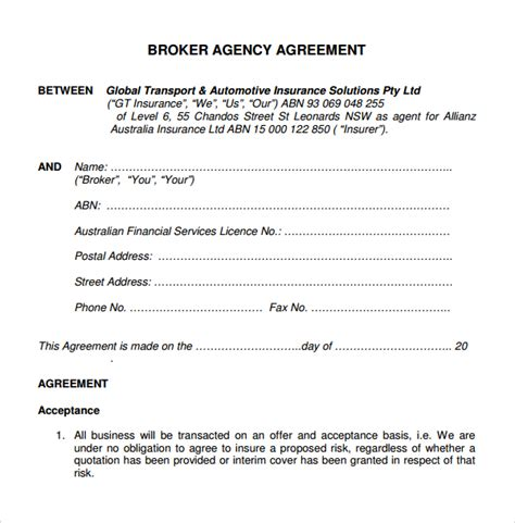 8 Business Agency Agreements Sle Templates Insurance Broker Agreement Template
