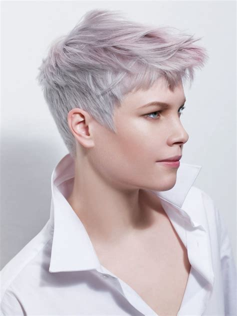 short haircut  silver  lilac hair colors upturned