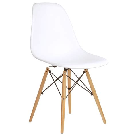 Eames Style Plastic Chair by Set Of 2 Eames Style Dsw Molded White Plastic Dining Shell