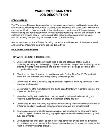 receiving manager job description shipping and receiving