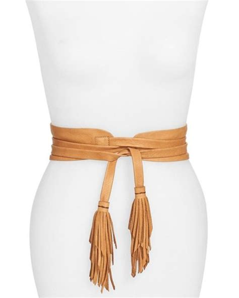 b low the belt leather tassel obi belt in