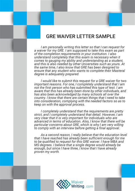 Gre Essay Exles by Expert Gre Waiver Letter Assistance Waiver Writing