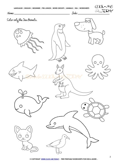 water animals worksheets kindergarten sea animals worksheet activity sheet color 2