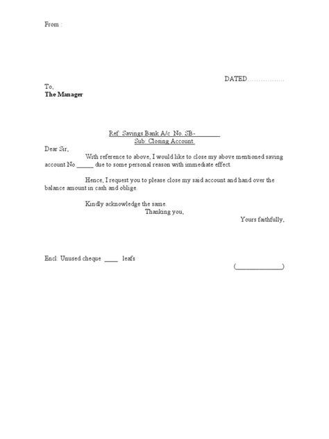 Business Letter Format Closing Bank Account Closing Bank Account Letter