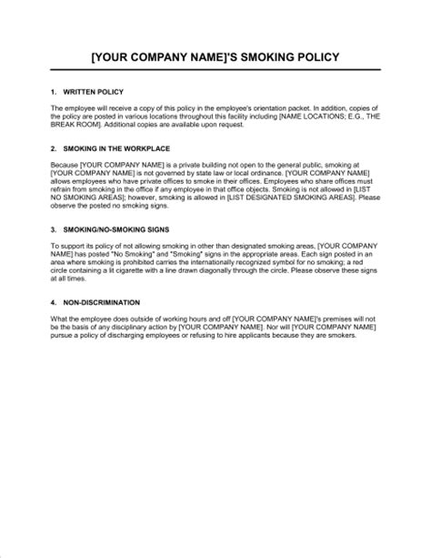 smoking policy template sle form biztree com