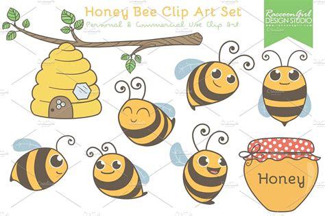 honey bee clip honey bee clip set illustrations creative market