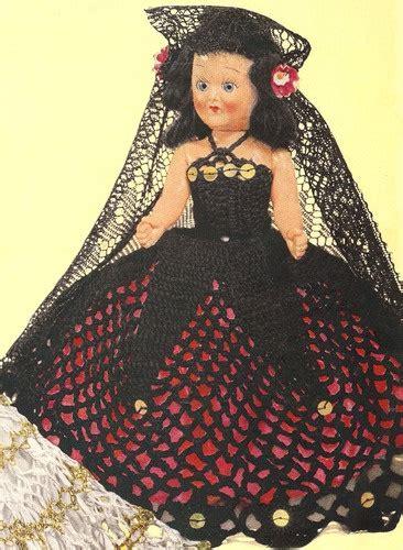 clothes pattern in spanish vintage crochet spanish senorita doll dress 8in pattern