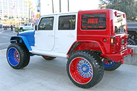 white and blue jeep sema 7 trucks jeeps that will never see the dirt off