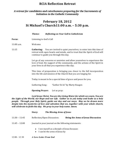 Rcia Reflection Retreat Retreat Schedule Template