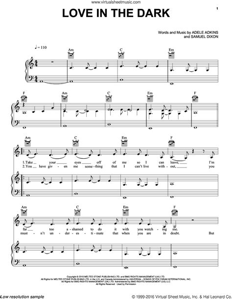 adele love in the dark adele love in the dark sheet music for voice piano or