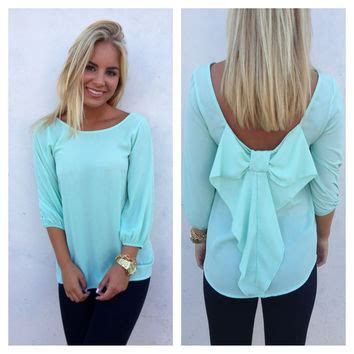 Blouse Wanita Mint mint blouse with bow collar blouses