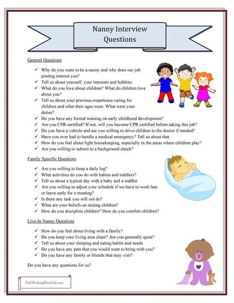 nanny questions grab your printable checklist